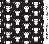 background pattern with monkey... | Shutterstock .eps vector #744698923