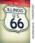 historic route 66 road sign in... | Shutterstock . vector #744699187