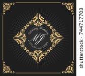 vintage luxury monogram logo... | Shutterstock .eps vector #744717703