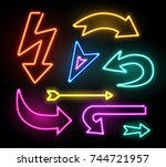 neon glowing arrow pointer set  ... | Shutterstock .eps vector #744721957