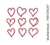heart doodles | Shutterstock .eps vector #744724147