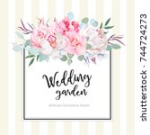 square floral vector design... | Shutterstock .eps vector #744724273
