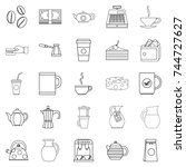 coffee house icons set. outline ... | Shutterstock . vector #744727627