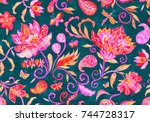paisley watercolor floral... | Shutterstock . vector #744728317