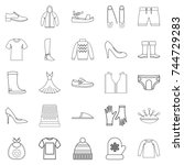 outgoing clothes icons set.... | Shutterstock . vector #744729283