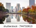 autumn in the park of tokyo ... | Shutterstock . vector #744733813