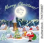 christmas landscape with... | Shutterstock .eps vector #744734887