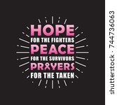 hope for the fighter peace for... | Shutterstock .eps vector #744736063