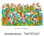 vector illustration with many... | Shutterstock .eps vector #744737167