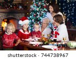 family with children eating... | Shutterstock . vector #744738967