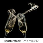 glasses of champagne with...   Shutterstock . vector #744741847