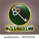 gold shiny badge with key icon ... | Shutterstock .eps vector #744742543