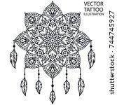 dreamcatcher tattoo for... | Shutterstock .eps vector #744745927