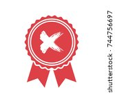 red rejected or certified medal ...   Shutterstock .eps vector #744756697