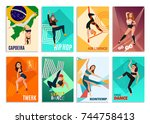 set of vertical cards with... | Shutterstock .eps vector #744758413