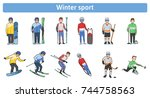 the winter sports. winter... | Shutterstock .eps vector #744758563