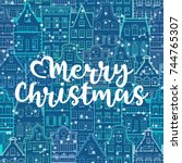 christmas line art pattern with ... | Shutterstock .eps vector #744765307