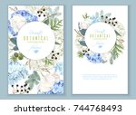 vector floral banners with blue ... | Shutterstock .eps vector #744768493