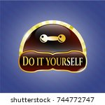 golden emblem or badge with... | Shutterstock .eps vector #744772747