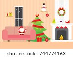 christmas room background... | Shutterstock .eps vector #744774163