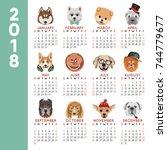 2018 calendar dog year breed... | Shutterstock .eps vector #744779677
