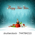 happy new year calligraphic red ... | Shutterstock .eps vector #744784213