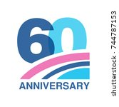 60th anniversary colored logo... | Shutterstock .eps vector #744787153