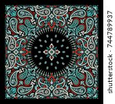 vector ornament paisley bandana ... | Shutterstock .eps vector #744789937