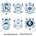 set of vector vintage emblems...   Shutterstock .eps vector #744790147