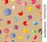 flat pattern seamless.... | Shutterstock .eps vector #744792253