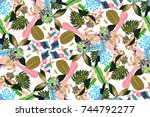 abstract background composition ... | Shutterstock .eps vector #744792277