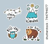fun travel stickers and patches ... | Shutterstock .eps vector #744794077
