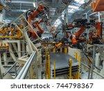 automobile plant  modern... | Shutterstock . vector #744798367