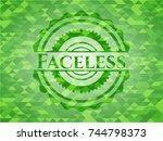 faceless green emblem with... | Shutterstock .eps vector #744798373