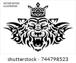 tribal tattoo tiger with crown... | Shutterstock .eps vector #744798523