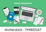 human resources  top view of a... | Shutterstock .eps vector #744803167