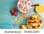 breakfast on the table. many... | Shutterstock . vector #744812347