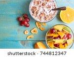 breakfast on the table. many...   Shutterstock . vector #744812347