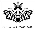 tribal tattoo tiger with crown... | Shutterstock . vector #744813457