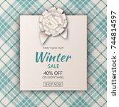 holiday season sale banner.... | Shutterstock .eps vector #744814597