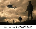 military silhouettes of... | Shutterstock . vector #744822613