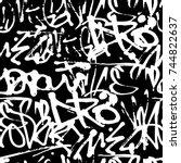 vector graffiti seamless... | Shutterstock .eps vector #744822637