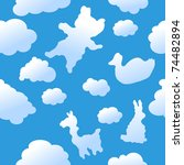Seamless animal clouds background - stock vector
