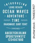 ocean waves surf font.... | Shutterstock .eps vector #744831907