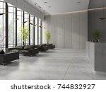interior of a lobby hotel... | Shutterstock . vector #744832927