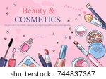 sketch of cosmetics products ... | Shutterstock .eps vector #744837367