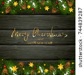 text merry christmas and happy... | Shutterstock . vector #744839287