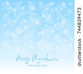 text merry christmas and happy... | Shutterstock . vector #744839473