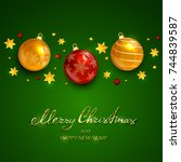 christmas balls and stars with... | Shutterstock . vector #744839587