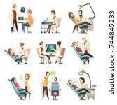 set of nine isolated cartoon... | Shutterstock .eps vector #744845233